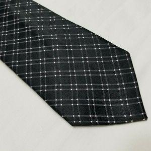 Shiny Metallic Black & White MICHAEL KORS Silk Tie